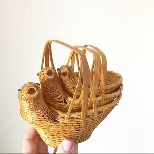 Vintage Nesting Wicker Duck Basket Boho Decor